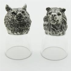 Набор рюмок-перевертышей с литыми головами Лев и тигр