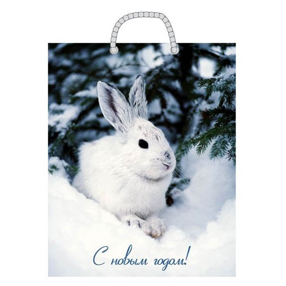 Пакет бумажный «С Новым Годом!» зайцы