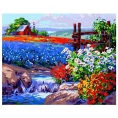 Картина-раскраска по номерам на холсте Дикие цветы