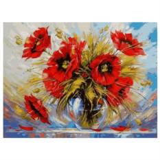 Картина-раскраска по номерам на холсте Маки