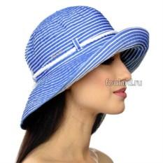 Пляжная голубая шляпа в полоску от Del Mare