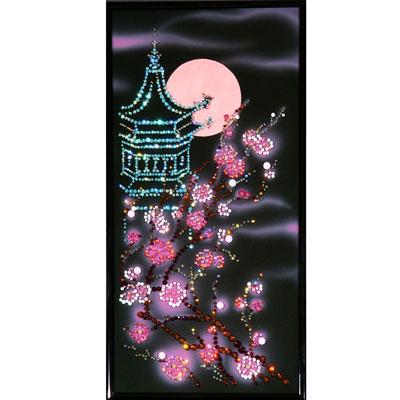Хрустальная картина «Пагода с сакурой»