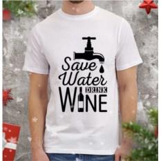 Мужская футболка Save water drink wine