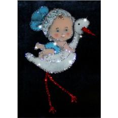 Картина с кристаллами Сваровски С днем рождения