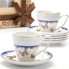 Фарфоровый кофейный сервиз Бабочки на 12 предметов Lorain