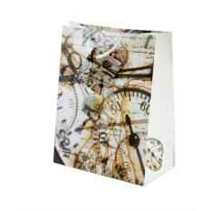 Бумажный ламинированный подарочный пакет Время