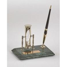 Мраморный настольный набор из ручки и песочных часов