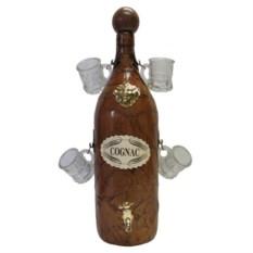 Сувенирный набор из бутылки на 2 литра с краном и 4 рюмок