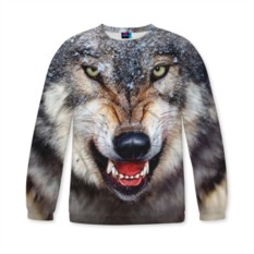 Женский свитшот 3D с полной запечаткой Волк