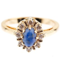 Позолоченное кольцо с лазуритом и фианитом Малая маркиза