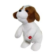 Мягкая поющая игрушка Белый ласковый щенок