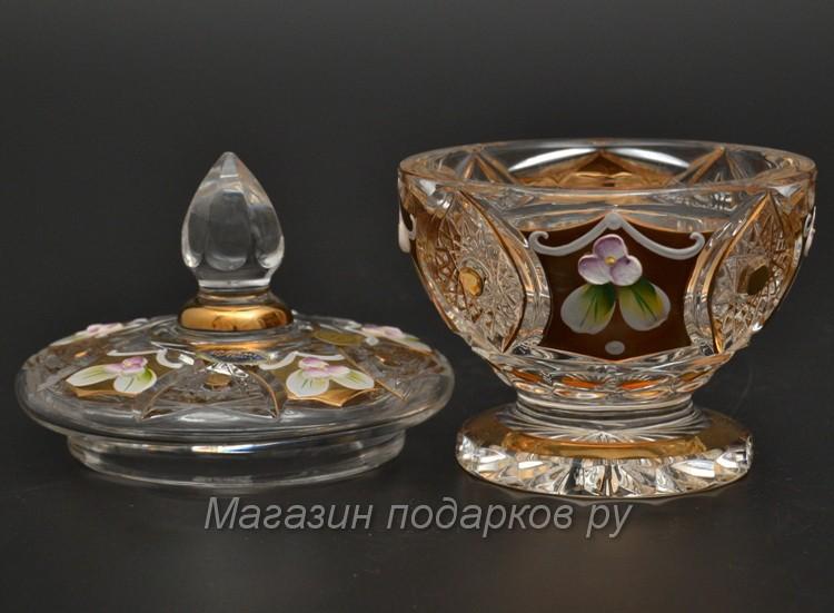 Конфетница с крышкой Bohemia Яхами, золото, 10,4 см