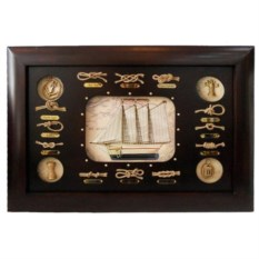 Коллаж с кораблем и морскими узлами