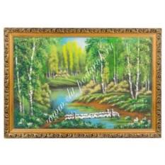 Картина из каменной крошки Мостик через ручей