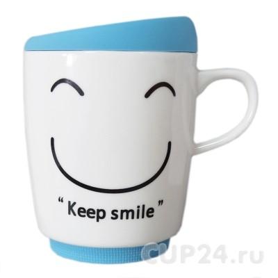 Кружка New Keep smile (голубая)
