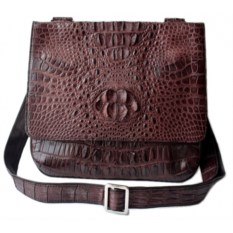 Коричневая мужская сумка из крокодиловой кожи