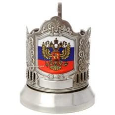 Никелированный подстаканник с цветным нанесением Флаг РФ