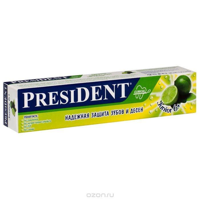 Зубная паста President Junior 6+, 50 мл
