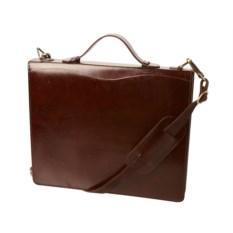 Коричневая папка-портфель на молнии с ремнем на плечо