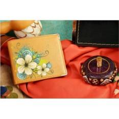 Бежевое кожаное портмоне Цветочный орнамент 24777
