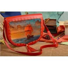 Женская сумка-седло с принтом Парусник