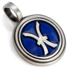 Синяя подвеска-знак зодиака Рыбы Bico