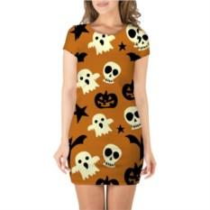 Оранжевое 3D платье с короткими рукавами Веселый Хэллоуин