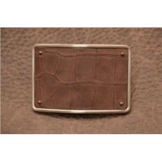Пряжка для ремня с кожаной вставкой. Коллекция G.Design (коричневый, черепаха; нат. кожа)