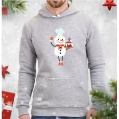 Серая мужская толстовка Снеговик-кондитер
