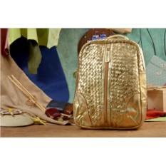 Кожаный рюкзак золотого цвета Квиз