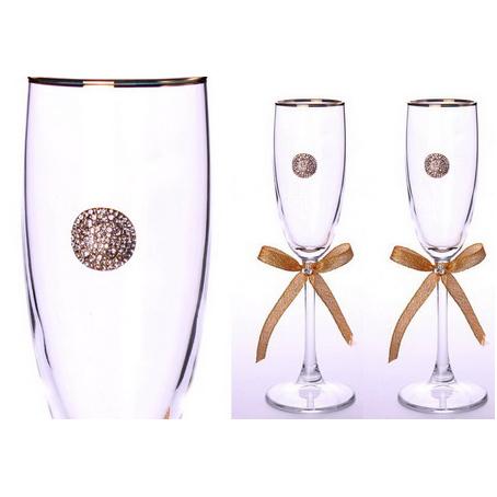 Свадебные бокалы с золотой каймой, 2  шт.