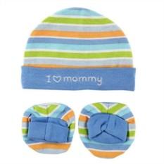 Комплект из детской шапочки и пинеток I love Mammy
