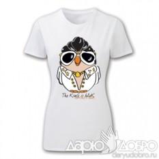 Женская футболка с совой Элвис
