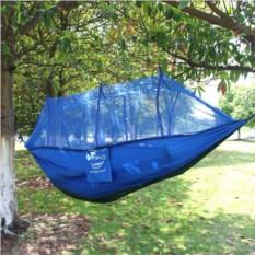 Синий гамак с москитной сеткой