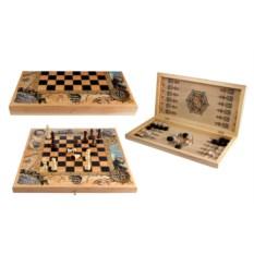 Светлый набор настольных игр 3 в 1: шахматы, нарды, шашки