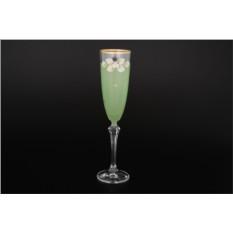 Набор из 6 матовых зеленых фужеров для шампанского 200 мл