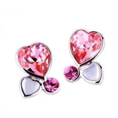 Серьги «Три сердца» с кристаллами Сваровски