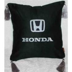 Черная с серебристой вышивкой и кистями подушка Honda