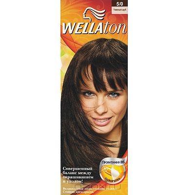 Крем-краска для волос Wellaton 5/0. Темный дуб