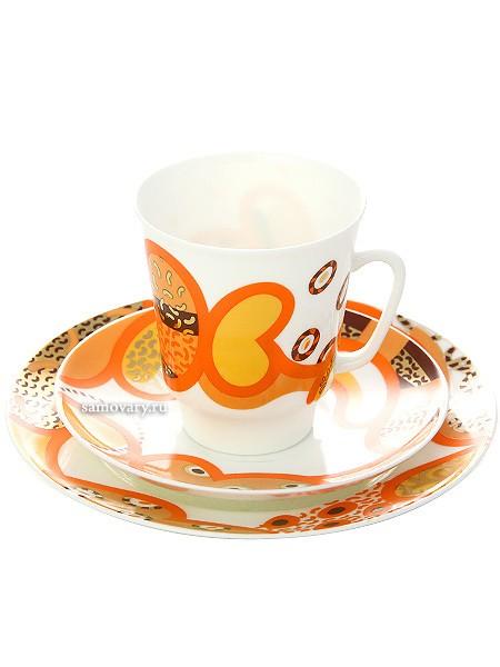 Кофейный фарфоровый набор из чашки и двух блюдцев Мотив