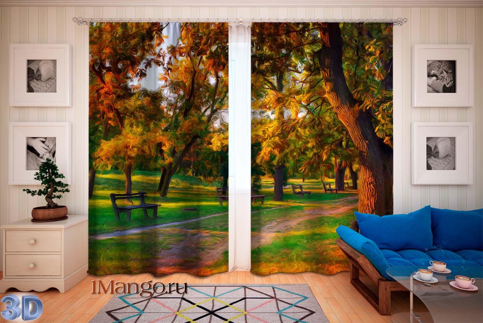 Фотошторы Рисованный пейзаж 15