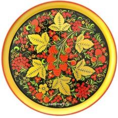 Тарелка-панно хохлома Ягодная полянка