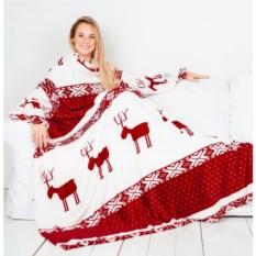 Плед с рукавами Sleepy New Year с бордовыми оленями