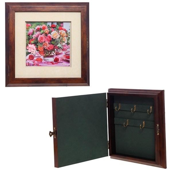 Ключница настенная с обьемным рисунком Живые цветы