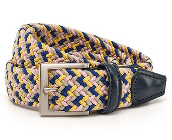 Плетёный ремень Anderson`s, розовый, жёлтый, синий