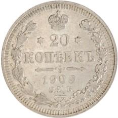 Монета 20 копеек 1909 года СПБ