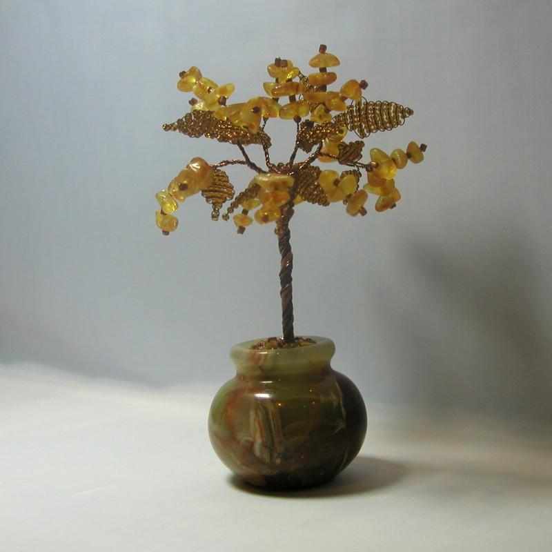 Дерево счастья из янтаря в вазочке из оникса