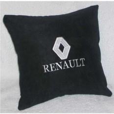Черная подушка с белой вышивкой Renault