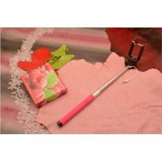 Розовый монопод для селфи с кнопкой и проводом