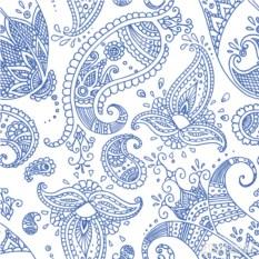 Бумажные салфетки Paisley white indigo